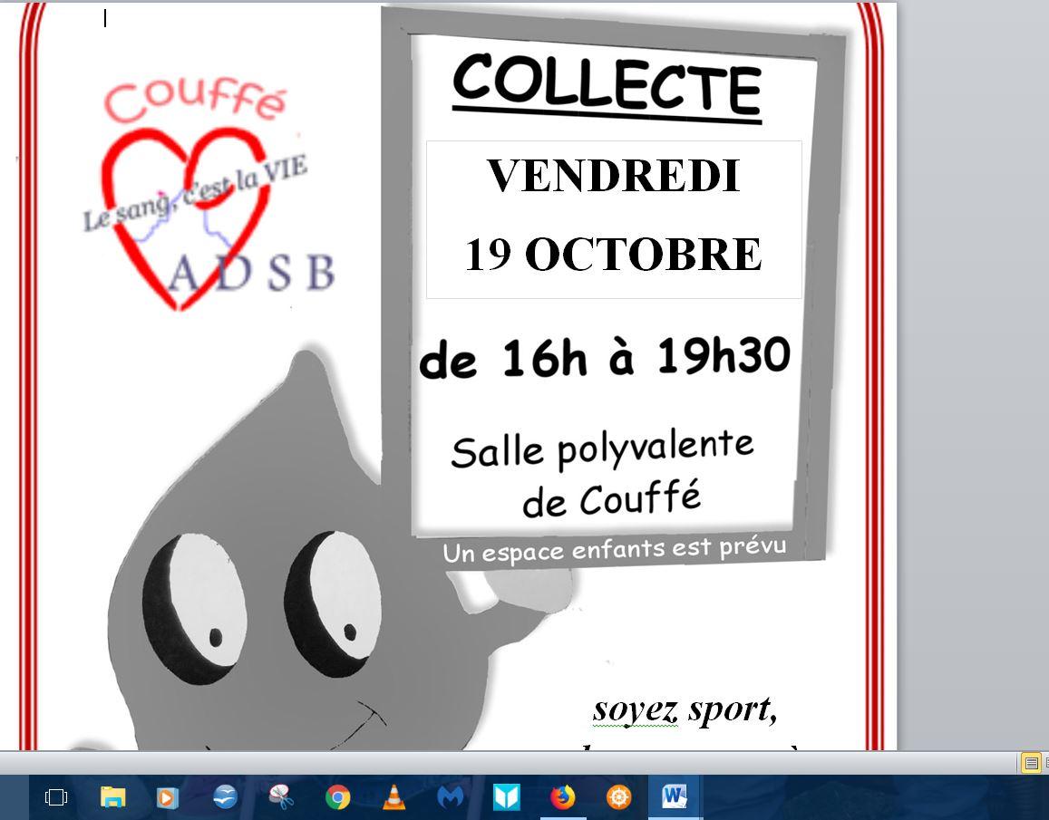 Collecte de sang du vendredi 19 octobre 2018